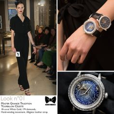 Seen at #JLCandAlexisMabille fashion show: the Master Grande Tradition #Tourbillon Céleste #watch.    Technical details: 18-carat White Gold, 174 diamonds, Hand-winding movement, Alligator leather strap.    Reference: 5073401