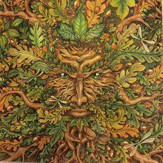 "15 Likes, 4 Comments - Anja B. Netzkatze (@anja.netzkatze) on Instagram: ""#mythomorphia #kerbyrosanes #coloringbook #inktense #morphiamay done with the tree spirit, one of…"""
