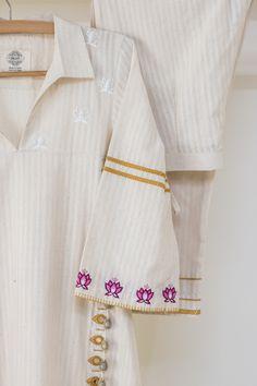 Hand Embroidery Dress, Embroidery Saree, Embroidery Fashion, Kurti Neck Designs, Kurti Designs Party Wear, Cotton Kurties, Stylish Dress Book, Kurta Patterns, Fancy Dress Design