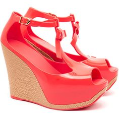 Melissa Peace Coral Pop Wedge Peep Toe Sandals ($63) ❤ liked on Polyvore featuring shoes, sandals, orange, orange sandals, platform wedge shoes, platform shoes, peep toe sandals and wedges shoes