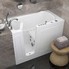 Access Tubs Walk-in Dual System Tub Available in: Right or Left Hand Drain Whirlpool Jets and Bubble Massage Air Injection Includes: Roman Faucet and Shower Wand