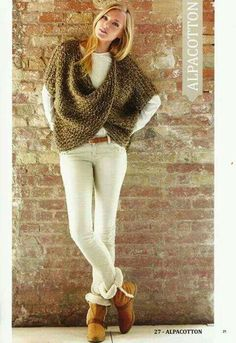 A faire.. ;-) Crop Top Sweater, Ribbed Sweater, Loom Knitting, Knit Crochet, Couture, Winter Fashion, Crochet Patterns, Skinny Jeans, Crop Tops