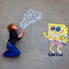 """Bubble Blowing Lessons"" - Eye Make up Chalk Art Festival, Art Festival, Street Chalk Art, Sidewalk Art, Chalkboard Art, Art, Art Pictures, Sidewalk Chalk Art, Spongebob Drawings"