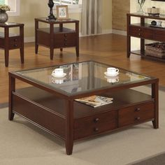 Riverside Furniture Avenue Square Cocktail Table in Dark Cherry - 61005 - Lowest price online on all Riverside Furniture Avenue Square Cocktail Table in Dark Cherry - 61005 Coffee Table Furniture, Coffe Table, Coffee Table With Storage, Centre Table Design, Tea Table Design, Square Glass Coffee Table, Glass Top Side Table, Wooden Dining Table Designs, Wood Table
