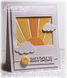 luv this sunny card created with die cuts...sun rays cut from coordinated yellow papers...window, clouds and circle dies also used...