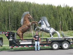Life-sized steel horse sculptures. One-of-a-kind pieces, Rusty & Chisel. http://www.metal2sculpture.com