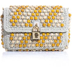 Dolce & Gabbana Beaded raffia padlock clutch (23.865.445 VND) ❤ liked on Polyvore featuring bags, handbags, clutches, yellow, shoulder strap handbags, yellow purses, yellow crossbody purse, shoulder handbags and over the shoulder handbags
