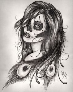 sugar skull tattoo | I want this added to my side/thigh piece!