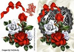 Red And White Roses With Bow On Blace Lace Heart