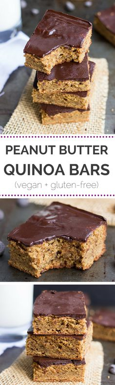 These peanut butter quinoa bars are AMAZING and so easy to make - plus they taste like peanut butter cups! Use sunbutter Baking Recipes, Vegan Recipes, Dessert Recipes, Quinoa Flour Recipes, Paleo Dessert, Vegan Treats, Vegan Snacks, Vegan Food, Gluten Free Desserts