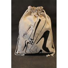Pochon réalisé à partir du pochoir Chaussures de femme de chez http://www.adeuxmains.fr