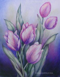 Paint 'Tulips in the Garden Light' with Paula Leopold CDA at the 2013 SDP… Acrylic Flowers, Watercolor Flowers, Watercolor Paintings, Tulip Painting, Fabric Painting, Caran D'ache, Color Pencil Art, Arte Floral, Learn To Paint