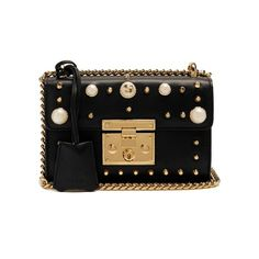 Gucci Mini Padlock embellished shoulder bag ($2,290) ❤ liked on Polyvore featuring bags, handbags, shoulder bags, gucci, black, over the shoulder purse, leather shoulder bag, leather purses, gucci purse and mini purse