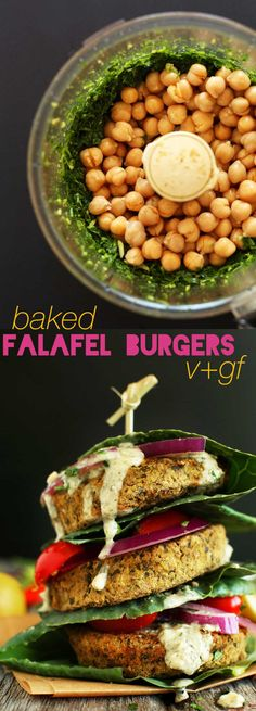 7-ingredient falafel burgers with 10 grams of protein and 5 grams fiber each #healthy #vegetarian #healthy #recipe #eatclean #recipes