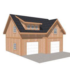 x 28 ft. Engineered Permit-Ready Garage Kit with Loft (Installation Not Included) wood carport kits pricesGone are the days whe. Wood Garage Kits, Garage Shed, Barn Garage, Garage Doors, Garage Plans With Loft, Garage Exterior, Garage Art, Detached Garage Plans, Prefab Garage Kits