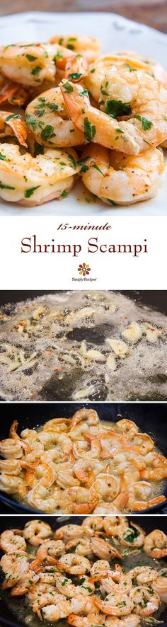 Shrimp Scampi ~ Quick and easy shrimp scampi, shrimp sautéed with garlic in butter, olive oil, and white wine, tossed with red pepper flakes and parsley. ~ SimplyRecipes.com