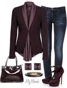 Like the purple. Like the blouse and jacket. No to the shoes.