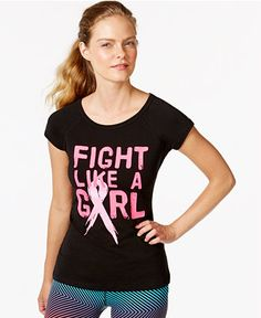 Ideology Short-Sleeve Breast Cancer Awareness Tee, Only at Macy's - Active Tops - Women - Macy's