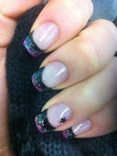 Pink and black nail art with star