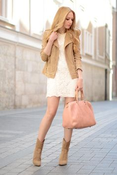cream lace dress and tan suede moto jacket