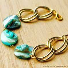 Stunning Sea Green Stone Bracelet - substitute metal links with leather
