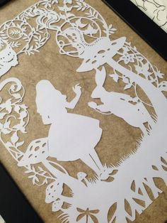 Framed Paper Cut Alice in Wonderland Cheshire by lovefromAngie