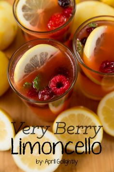 Very Berry Limoncello using Sweet\'n low for #sweetnlowstars using organic lemons