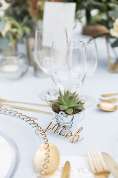 Mini succulent wedding favor and personalised laser cut name place setting - Photo from Louise & Lars collection by Maria Sundin Photography