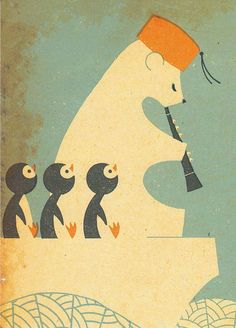 Polar bear with clarinet and penquins.