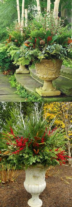 24 Colorful Winter Planters & Christmas Outdoor Decorations How to create colorful winter outdoor planters and beautiful Christmas planters with plant cuttings and decorative elements that last for a long time! - A Piece of Rainbow Christmas Urns, Outdoor Christmas Decorations, Christmas Home, Christmas Holidays, Christmas Wreaths, Thanksgiving Holiday, Thanksgiving Decorations, Winter Christmas, Winter Planter