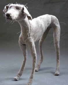 Beautiful ghost dogs by Holy Smoke Textile Fiber Art, Textile Artists, Helen Thompson, Ghost Dog, Dog Sculpture, Box Art, Fabric Art, Garden Art, Art Dolls