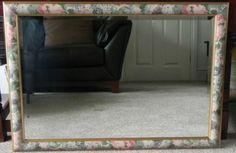Large-quality-beveled-edge-Mirror-gold-edging-frame-green-pink-floral-pattern