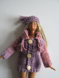 Pink and lilac hat and coat for Barbie. Coat with moss stitch collar and tassels. Moss stitch hat with tassel. Hand knitted dolls clothes. by Nobodyknitsitbetter on Etsy