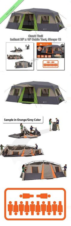 Tents 179010 Ozark Trail Instant Cabin Tent 12 Person 3Rm 20X10 Family Outdoor Camping
