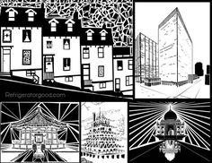 Black and white buildings using the pen tool on design software Graphic Design Lessons, Graphic Design Projects, Graphic Design Typography, Graphic Design Illustration, Art Education Lessons, Art Lessons, Black And White Building, Computer Drawing, Art And Architecture