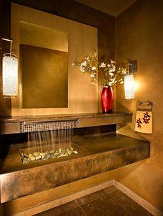 robinet cascade, une fontaine zen dans la salle de bains