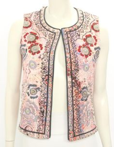 Isabel Marant Pink Print Cotton Embroidered & Studded Vest Size 36 #IsabelMarant