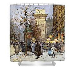 Figures On Le Boulevard St. Denis At Twilight Shower Curtain by Eugene Galien-Laloue