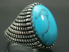Handcrafted .925 Fine Silver Men's Oval Turquoise Rings from Istanbul, Turkey…