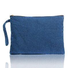 New 2017 Women Canvas clutch Bag Blue denim Women's Clutches Bolsa Feminina Wristlets Lady Casual Handbag Wallets free shipping  #instastyle #pretty #ootd #cool #streetstyle #glam #cute #styles #shopping #dress