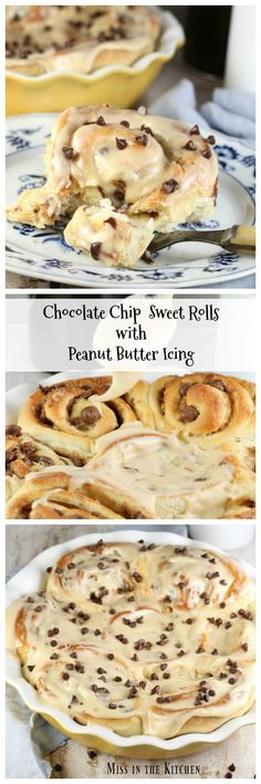 Chocolate Chip Sweet Rolls with Peanut Butter Icing Recipe that is perfect for the peanut butter and chocolate lovers! Just Desserts, Delicious Desserts, Dessert Recipes, Yummy Food, Icing Recipes, Yummy Treats, Sweet Treats, Peanut Butter Icing, Brownie