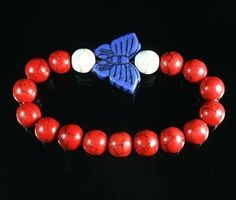 Good Gift Turquoise Blue Butterfly & Red White Ball Bead Stretch Bracelet A