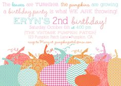 halloween party, fall party invites, fall birthday invites, pumpkin party invites, pumkin invitations via party box design Pumpkin Patch Birthday, Pumpkin Patch Party, Pumpkin Birthday Parties, Halloween Birthday, 2nd Birthday Parties, Girl Birthday, Girl Parties, 10th Birthday, Happy Birthday