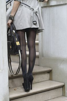 Back seam tights.