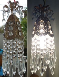 1of3 Jeweled filigree Hollywood Regency hanging SWAG lamp chandelier Vintage $175