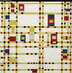 De Stijl Movement or Broadway Boogie Woogie Piet Mondrian every big square could represent the different sounds that you can hear in the song, while the little squares represents the piano Piet Mondrian, Mondrian Kunst, Mondrian Dress, William Turner, Bauhaus, Boogie Woogie, Dutch Painters, Abstract Styles, Abstract Art