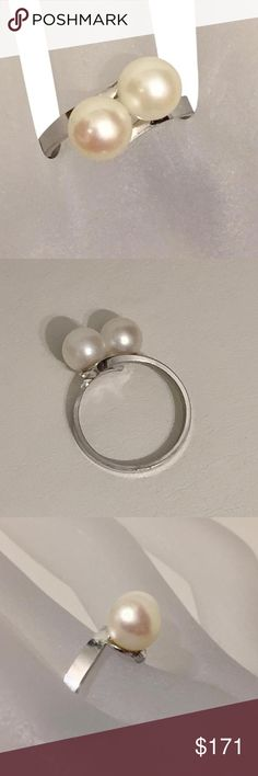 silver toi et moi genuine pearl promise ring Silver antique toi et moi Art Deco genuine pearl ring Jewelry Rings