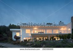 Contemporary home at night / twilight. - stock photo