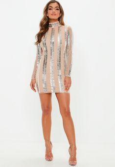 Premium Nude High Neck Embellished Mini Dress  6e63c9d51454