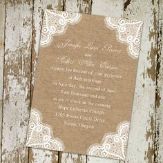 burlap+and+lace+wedding+ideas | Rustic burlap and lace wedding invitations EWI244 |